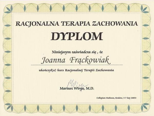 Certyfikat Racjonalna Terapia Zachowania