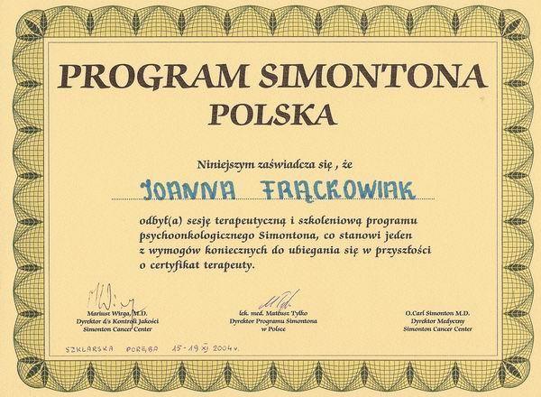 Certyfikat Terapeuty Programu Simontona